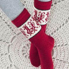 Lykke-sukkalangasta neulotut sukat >> Avaa ohje Mittens, Christmas Stockings, Diy And Crafts, Socks, Slippers, Knitting, Holiday Decor, Home Decor, Wool