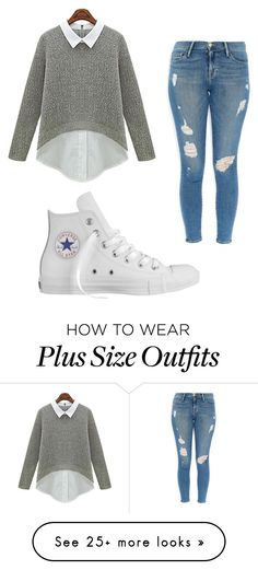 """something nice to wear out"" by chelsea17sup on Polyvore featuring Frame Denim and Converse"