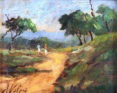 Paisagem, Alfredo Volpi (Itália/Brasil, 1896-1988), óleo sobre madeira, 17 x 20 cm