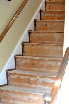"Find and save ideas about Painted stairs on ""Staircase Ideas"". Redo Stairs, Basement Stairs, Stair Redo, Stair Railing, Railings, Banisters, Basement Ideas, Refinish Stairs, Basement Subfloor"