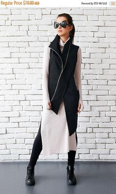 #black #vest for any #special occasion: https://www.etsy.com/listing/498987177/sale-extravagant-black-vestcasual-long?ref=shop_home_active_5