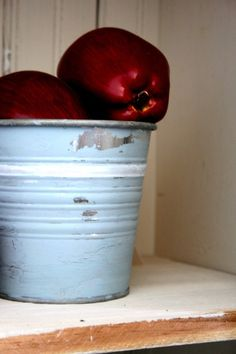 vintage metal bucket - worn and lovely