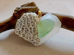 Heart with Beach Combed Sea Glass and Coral by SeasAndSeasons