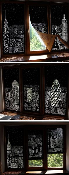 Buildings and Stars Cut into Blackout Curtains Turn Your Windows Into Nighttime Cityscapes #HomeDecoratingTips