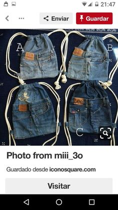 Most current Pic Totes from blue jeans Strategies I really like Jeans ! And much more I love to sew my own Jeans. Next Jeans Sew Along I am going to Diy Jeans, Women's Jeans, Jean Crafts, Denim Crafts, Artisanats Denim, Denim Bags From Jeans, Blue Jeans, Mochila Jeans, Jean Diy