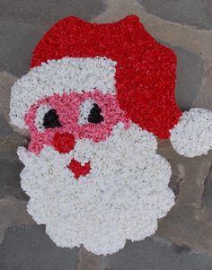 Vintage Christmas Plastic Popcorn Decoration ~ Santa Head