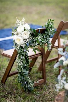Top 7 Early Spring Navy Blue Wedding Color Palettes You Will Crash On Top 5 Early Spring Navy Blue Wedding Color Palettes---Navy & Green, outdoor wedding ceremony with peonies and greenery d. Wedding Ceremony Chairs, Wedding Chair Decorations, Garland Wedding, Wedding Aisle Outdoor, Wedding Ceremonies, Blue Wedding, Floral Wedding, Summer Wedding, Wedding Flowers