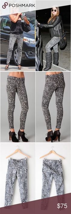 """'Snow Leopard' Animal Print Skinny Jeans Super cute animal print jeans, skinny style. In excellent gently used condition. All measurements taken laying flat. Hips measure 13.5"""", length measures 36.5"""", inseam is 29"""", size 24. J Brand Jeans Skinny"""