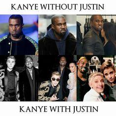 Justin made Kanye smile ... #mic drop