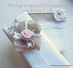 Tutorial on how to recycle different materials and burlap to wrap beautiful gifts for fall.
