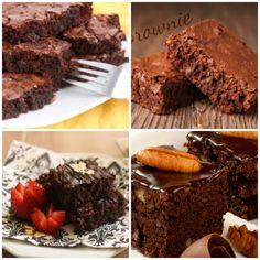 Brownie Americano •150 g de nozes •200 g de chocolate meio amargo •250 g de manteiga •250 g de açúcar refinado •250 g de açúcar mascavo •300 g de farinha de trigo •2 ovos •2 gemas •30 ml de essência de baunilha