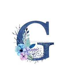 Monogram G Icy Winter Bouquet by floralmonogram Winter Bouquet, Winter Flowers, Monogram Alphabet, Alphabet And Numbers, Monogram Design, Lettering Design, Fabric Painting, Painting On Wood, Stylish Letters