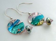 Recycled Aluminum and Lampwork Earrings