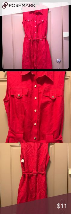Cute Hot Pink Linen Blend Silver Snap Dress Please Read: this is a size 12W Silver Snaps, belt, past the knee length. Ashley Stewart Dresses Midi
