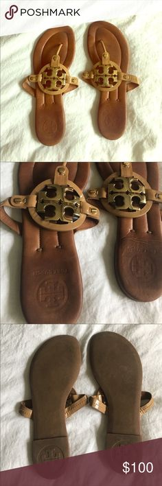 Tory Burch Miller 2 Sandals with Gold Hardware Adorable, hard-to-find, Tory Burch sandals !! Sold these on posh already but were returned because of the damage. To be very clear - these have some scratches on the hardware and some visible wear on the front of these shoes (both pictured). Still cute and have lots of life left !! Tory Burch Shoes Sandals