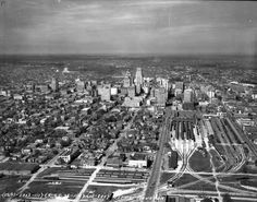 Downtown Houston, 1938 with Houston Union Station in the lower right quadrant of the picture. Hurricane History, Shes Like Texas, Texas History, Local History, Only In Texas, Texas Pride, H Town, Union Station, Houston Texans
