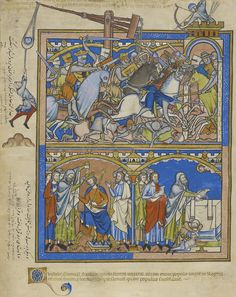 Saul defeats the Ammonites, is crowned by Samuel, and peace offerings are made  , The Crusader Bible MS M.638, fol. 5r (detail). The Morgan Library & Museum. Purchased by J. P. Morgan, Jr., 1916. . The Crusader Bible MS M.638, fol. 23v. The Morgan Library &