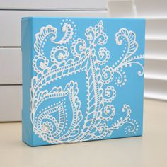 White on blue canvas