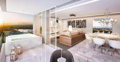 Projeto de Interiores para living com varanda integrada.
