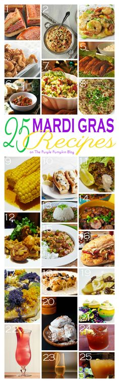 25 Mardi Gras Recipes - lots of great ideas with appetizers, entrees, desserts and cocktails! Saving this for Mardi Gras party time! by bianca Mardi Gras Food, Mardi Gras Party, Cajun Recipes, Cooking Recipes, Louisiana Recipes, Shrimp Recipes, Cajun Cooking, C'est Bon, Appetizer Recipes