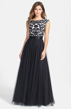 Great gown for the conference formal night. Aidan Mattox Embroidered Bodice Mesh Ballgown available at #Nordstrom