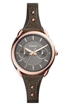 Falling for this classic round watch set on a slender leather strap, courtesy of Fossil and the Nordstrom Anniversary Sale.