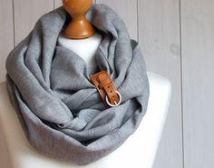 Chunky Leinen Infinity Schal Schlauch Schal mit Manschette, reines Leinen Schal