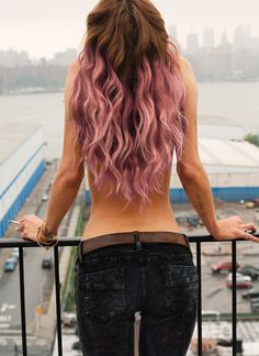 natural brown hair with light pink tips looks nice