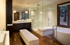 An ottoman adds more luxury and comfort to your bathroom with steam shower