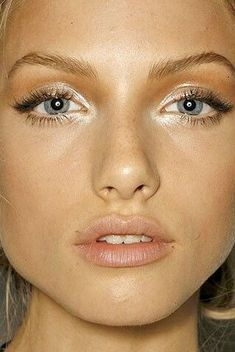 Beautiful summer make up for blondes- copper past the crease and shiny white