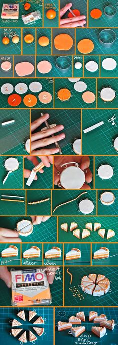 clay orange cake tutorial by on deviantART Awesome, hope to try this soon! Cute Polymer Clay, Cute Clay, Polymer Clay Miniatures, Fimo Clay, Polymer Clay Projects, Polymer Clay Charms, Polymer Clay Jewelry, Clay Crafts, Minis