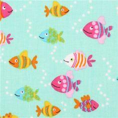 mint green fish fabric Timeless Treasures Diving Divas