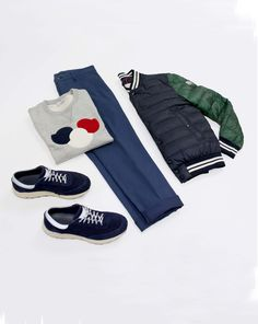 d39963b0 Moncler flat lay featuring grey logo-appliquéd cotton sweatshirt and  quilted navy shell bomber.