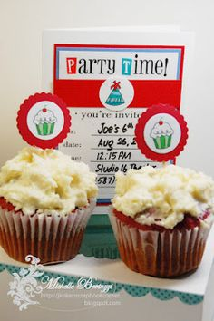 @Michelle Bertuzzi created this wonderful party invite and matching cupcakes using SRM's We've Got Your Invite.  YUM!