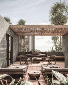 Casa Cook - El Gouna, latest hotel in the Casa Cook Hotels collection. Rooftop Design, Terrace Design, Garden Design, Outdoor Rooms, Outdoor Living, Outdoor Furniture Sets, Outdoor Decor, Wooden Furniture, Outdoor Areas