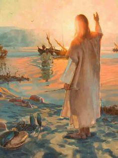 Jesus on the shore waving hello. I love this, feels like home! Sweet prophetic art.