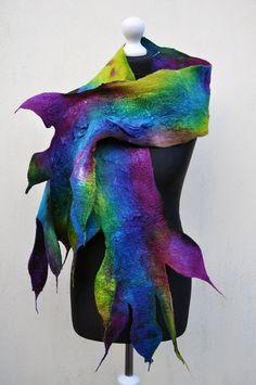 Felted scarf silk wool nuno felt felt by AleksandrabWiniarska, $79.00