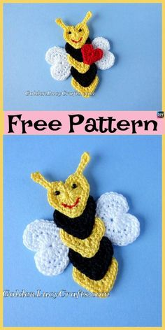 2f6fa6251ced10 Cute Crochet Applique Bees - Free Patterns