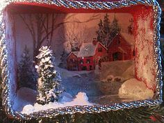 my first little box diorama ornament - Christmas morning with a frozen stream and vintage card background