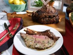Prime Rib with Beef Gravy Recipe : Katie Lee : Food Network Rib Recipes, Cooking Recipes, Kitchen Recipes, Game Recipes, Roast Recipes, Meatloaf Recipes, Steak Recipes, Soup Recipes, Xmas