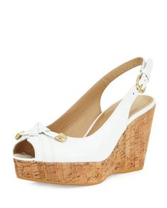 Chatter+Knotted+Patent+Wedge+Sandal,+White+by+Stuart+Weitzman+at+Neiman+Marcus+Last+Call.