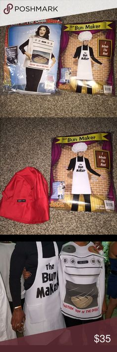 Couples Costume 2 for 1 costumes. Worn once for this past Halloween. The apron originally came with a white hat (shown on picture), but we decided a red hat would match better for our white, black, and red theme! Red hat was purchased separately, but is included. Other