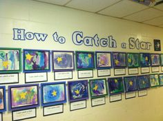 """How to Catch a Star watercolor, salt, cut-paper project.students wrote, """"I can catch a star by. Space Preschool, Space Activities, Preschool Activities, Sistema Solar, Kindergarten Art Projects, Author Studies, Space Theme, Stars Craft, Elementary Art"""
