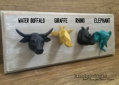 This listing is for 1 polyresin rhino head knob in black or other custom color. This cool new style is origami inspired with an abstact