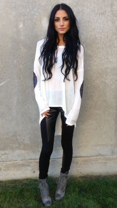 RESTOCKED!! Elbow Patch Top. $36. We are slightly OBSESSED!!! Pair with our leather leggings $26. www.sevenandcoboutique.com