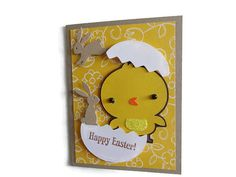 Chick Easter Card Childrens Easter Card by lilaccottagecards