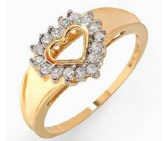 10K Solid Y/Gold & Genuine Diamond Heart Shaped Ring size N&1/2 or 7 RRP $530