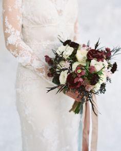 Browse our favorite bridal bouquets for a winter wedding. Winter Bridal Bouquets, Winter Bouquet, Winter Wedding Flowers, Flower Bouquet Wedding, Flower Bouquets, Purple Wedding, Wedding Colors, Burgundy Bouquet, Purple Bouquets