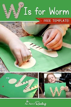 Practice letter recognition with your child with this FREE W Is for Worm ABC Craft activity! Preschool Letter Crafts, Alphabet Letter Crafts, Abc Crafts, Free Preschool, Preschool Themes, Kindergarten Activities, Toddler Crafts, Letter Tracing, Alphabet Book