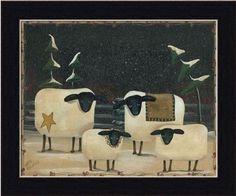 Sheep Flock by Aleta Blackstone Primitive Folk Art Country 11.5x9.5 in Framed Art Print Picture